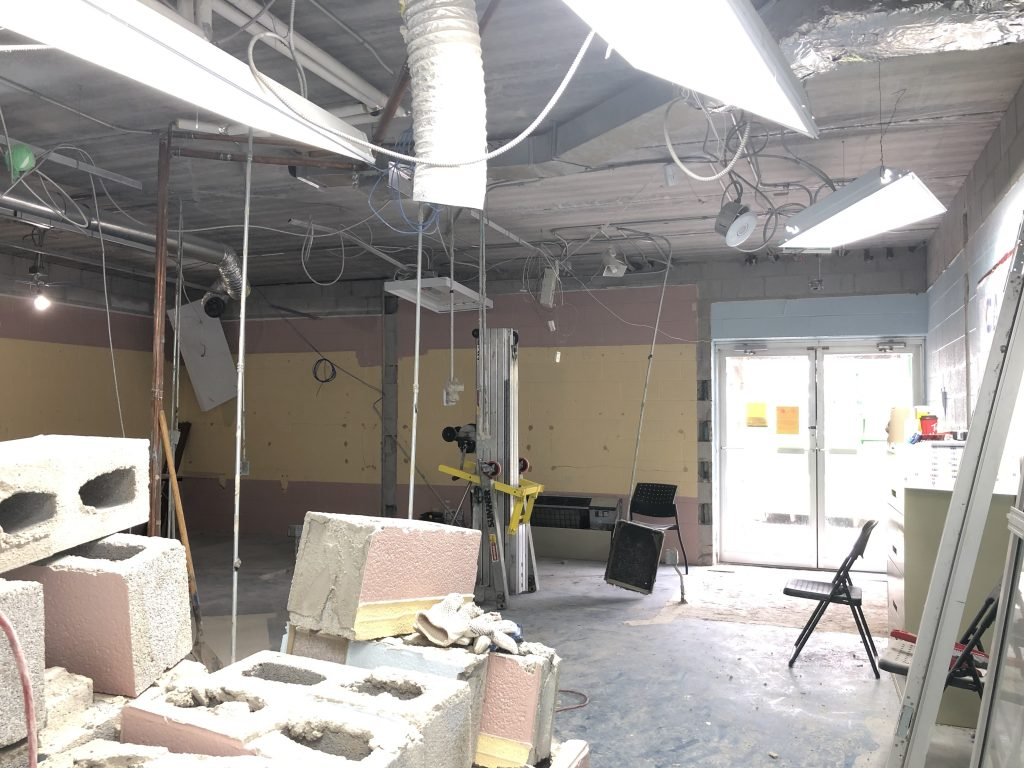 Guelph Saultos Gymnastics Club 2020 Renovation Lobby Demolition